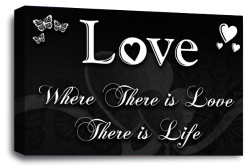 Love Quote Wall Art Picture Black White Home Print